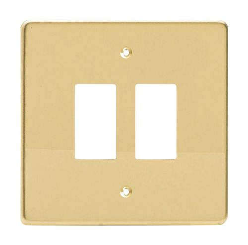 Varilight XDVPG2 PowerGrid Polished Brass 2 Gang Grid Plate (Single Plate)